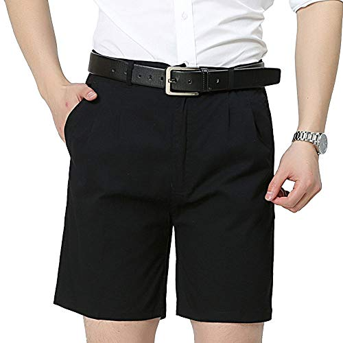 Men's Cotton Thin Classic Fit Pleated Front Shorts Solid Casual Fashion Short Twill Trousers Summer Half Straight Leg Dress Trouser Pants with Pockets Black