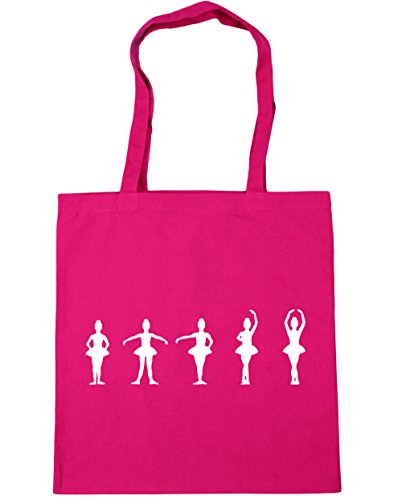 HippoWarehouse Ballet Positions Silhouettes Tote Shopping Gym Beach Bag 42cm x38cm, 10 litres