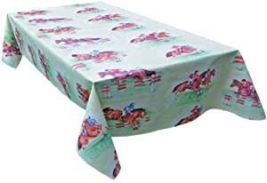 MG Oilcloth-Tablecloth Washable Horse Design Light-Green ( 252-00 ) - 320 X 140 Cm