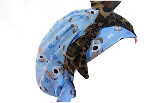 (Scrub Hat Chemo Cap Banded Bouffant Style MANY Color Options Available (Puppy Dog Animal Print Tie))