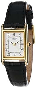 Seiko Women's SXGN42 Gold-Tone and Black Leather Strap Watch