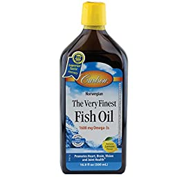Carlson Labs Very Finest Liquid Fish Oil 16.9 Fl. Oz. Lemon Frustration Free Packaging