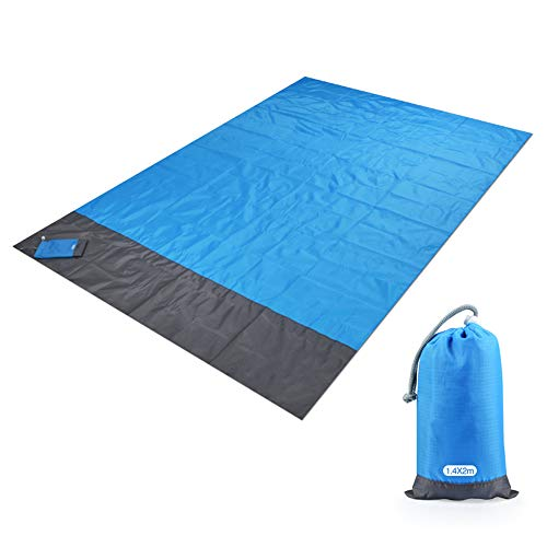 Fisko Outdoor Beach Blanket Practical Compact Pocket Foldable Portable Waterproof Sand Proof Ground Cover Lightweight Picnic Mat for Travel, Hiking, Camping, Durable Tarp with Loops Bag