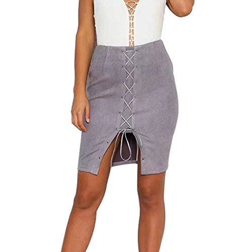 Rela Bota Women's High Waist Criss Cross Lace up Slit Tight Solid Bandage Suede Leather Mini Pencil Skirt Medium Grey (Pencil Skirt Pleated Leather)