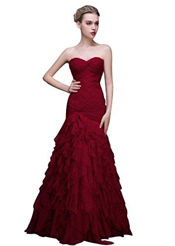 Beauty Wein Schatz Rot ärmellose Tunnelzug Emily Frills Mesh Riemen Abendkleider Meerjungfrau rIgqrxzwnR