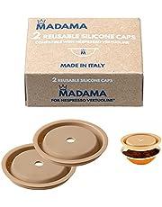 Madama - Herbruikbare dop voor Nespresso Vertuo en VertuoLine-capsules, hervulbaar en compatibel. Voedselveilig silicone. 100% Gemaakt in Italië. Set van 2 doppen.