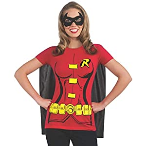Rubie's Costume DC Comics Women's Robin T-Shirt With Cape And Eye Mask