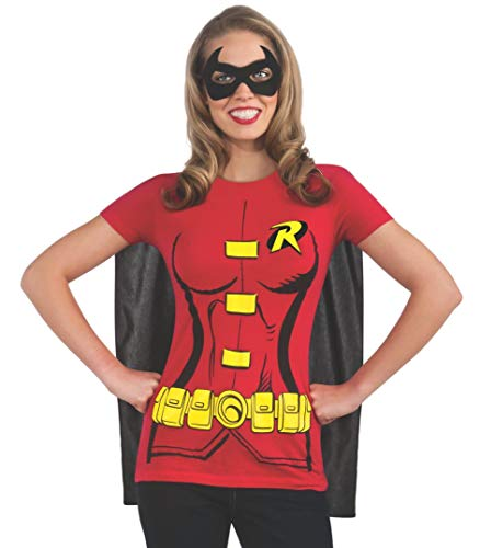 Rubie's Costume DC Comics Women's Robin T-Shirt With Cape And Eye Mask, Red, X-Large]()