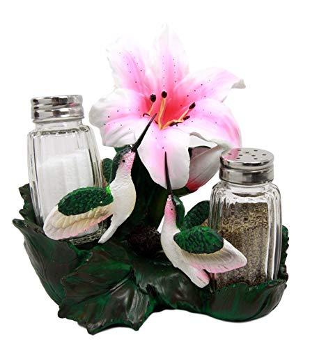 - Hummingbirds Feeding On Nectarine Bloom Glass Salt Pepper Shaker Holder Figurine