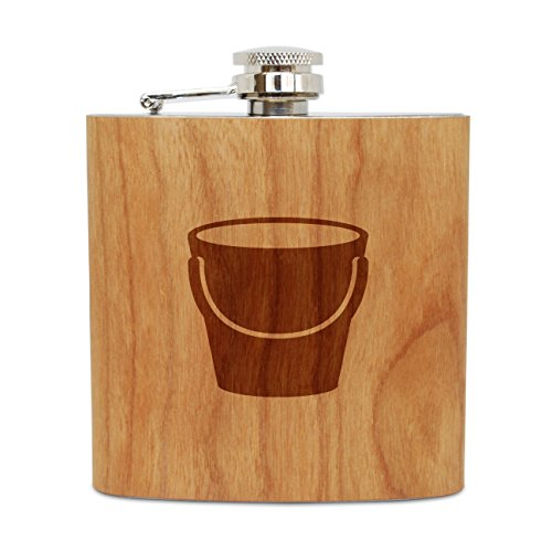 - WOODEN ACCESSORIES COMPANY Cherry Wood Flask With Stainless Steel Body - Laser Engraved Flask With Pail Design - 6 Oz Wood Hip Flask Handmade In USA