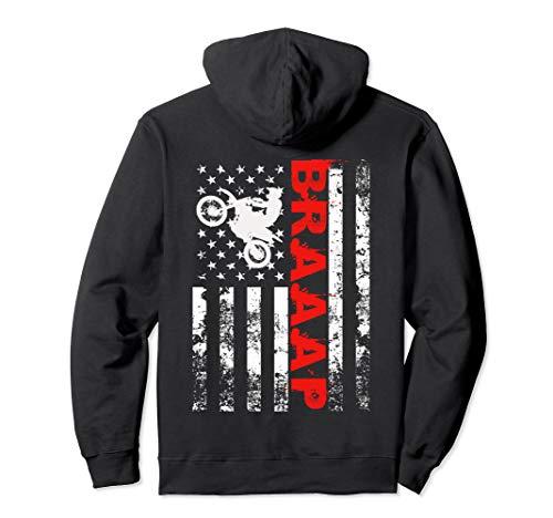 Braaap Vintage USA American Flag Dirt Bike Hoodie