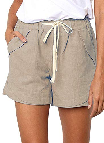 MOSBIILY Women's Cotton Linen Casual Shorts,Solid Comfy Beach Shorts Drawstring Elastic Waist with Pocket Summer Shorts,Khaki,L
