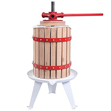 Useful UH-FP166 18L 4.75 Gal Solid Wood Basket Fruit and wine Press