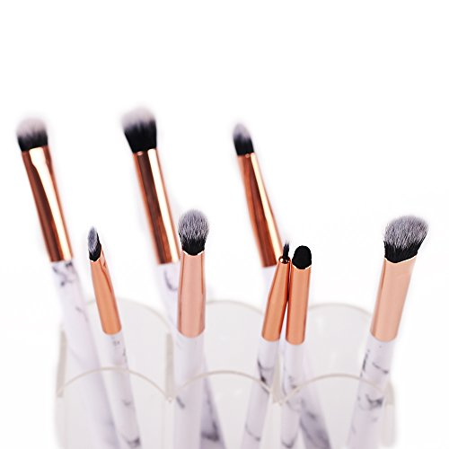Marble Makeup Brush Set - Marble Eyeshadow Brushes Set Angled Eyeliner Brush Lip Brush Blending Crease Kit - Best Choice 8 Vegan Makeup Brushes - Pencil, Shader, Tapered, Definer