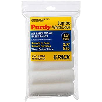 Purdy 140624612 Jumbo Mini White Dove Roller Replacements, 6-Pack, 4-1/2 inch x 3/8 inch nap