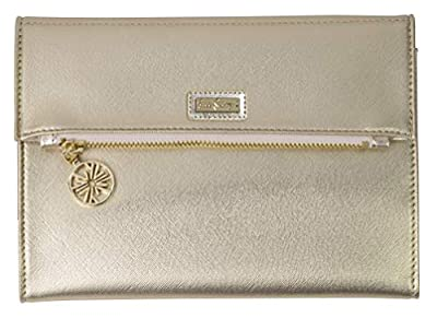 Lilly Pulitzer Women's Vegan Leather Travel Folio Clutch Wallet, Metallic Gold