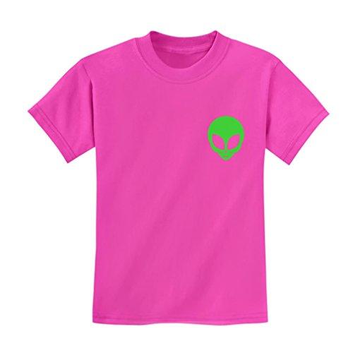 TeeStars - Neon Green Alien Head - Cute Alien Face Print UFO Kids T-Shirt Large Pink