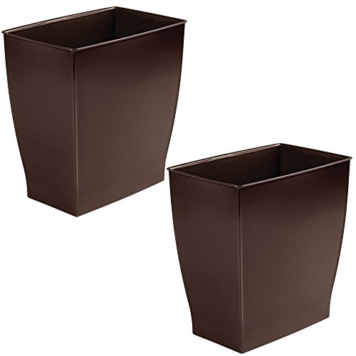 mDesign Rectangular Trash Can Wastebasket, Small Garbage Container Bin for Bathrooms, Powder Rooms, Kitchens, Home Offices - Pack of 2, Shatter-Resistant Plastic, Dark Brown by mDesign