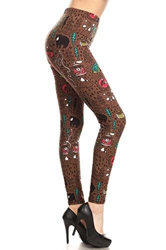R884W-EXTRAPLUS Camper's Trail Print Fashion Leggings