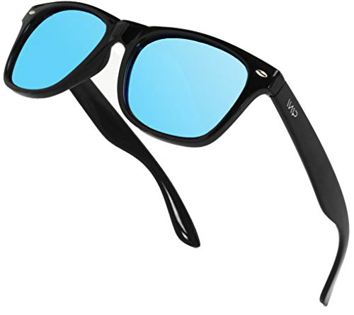 Polarized Flat Mirrored Reflective Color Lens Large Horn Rimmed Style Sunglasses (Mirrored ()