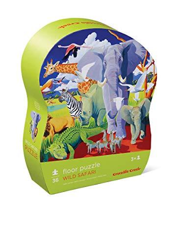Crocodile Creek Wild Animals - Crocodile Creek - Wild Safari - 36Piece Floor Puzzle for Kids Ages 3 & Up, Multicolor