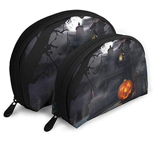 Portable Shell Makeup Storage Bags Halloween Pumpkin Castle Art Travel Waterproof Toiletry Organizer Clutch Pouch for Women -