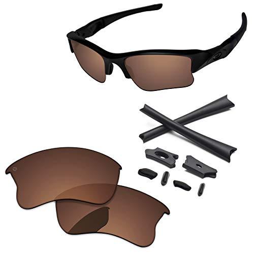 (PapaViva Lenses Replacement & Rubber Kits for Oakley Flak Jacket XLJ Pro+ Copper Brown Polarized)