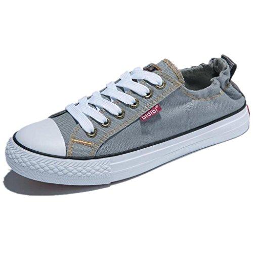 Cómodo Colores talón de Fondo Zapatos Plano Cuatro XIE Lona de Mujer Altura de 38 Movimiento Alumnos Ocio del GREY Zapatos 37 SxqFg