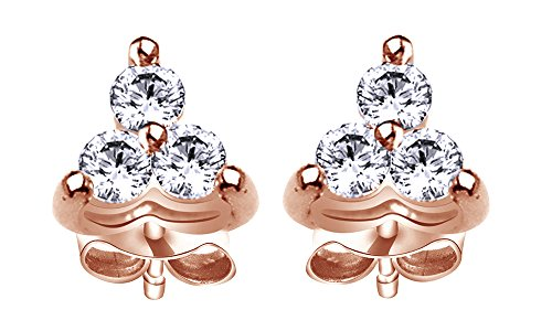 Round Cut White Natural Diamond Three Stone Stud Earrings In 10K Solid Rose Gold (0.2 (0.2 Ct Diamond Earrings)