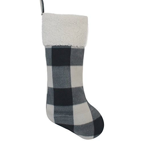 (Gireshome Grey Buffalo Check Plaid with Sherpa Cuff Decoration Christmas Stocking Xmas Tree Decor Festival Party Ornament)
