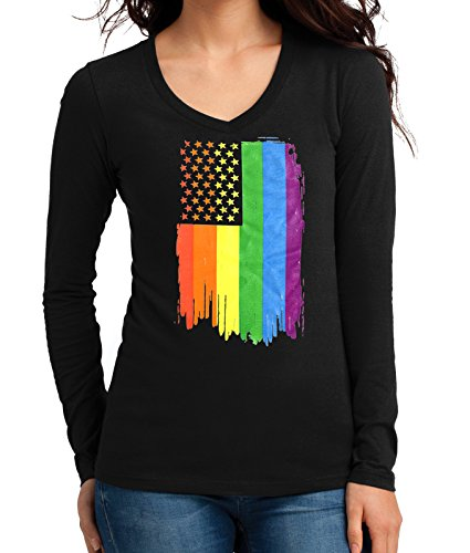 Junior's Rainbow Pride Flag Tee Black Long Sleeve V-Neck T-Shirt Medium Black (Long Womens Sleeve Pride)