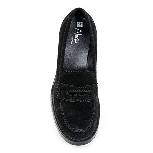 amp;scarpe Mocasines Scarpe Cm 7 De Alesya Con Tacones Negro 5Sfncq7F7