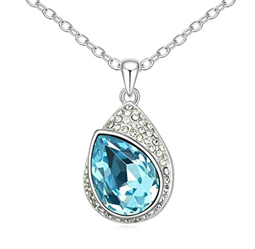 Adisaer Gold Plated Pendant Necklaces for Women Cubic Zirconia Teardrop Ocean Blue