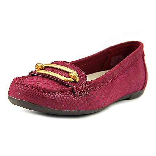 Anne Klein Womens Noris Leather Square Toe Loafers, Wine Reptile, Size 9.0