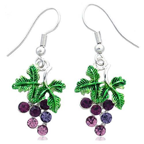 Lavender Purple Grape Vine Dangle Earrings Green Leaf Violet Purple Fruit Jewelry