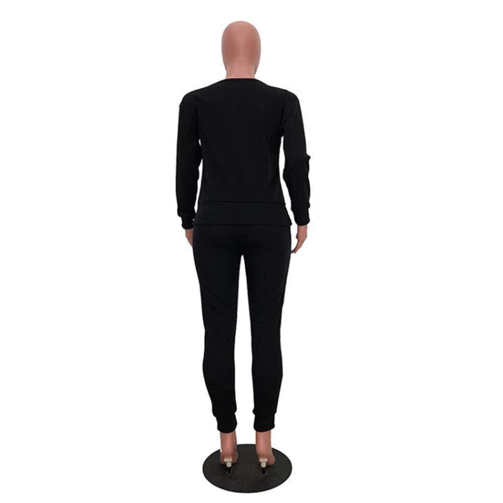 2 Pcs Femmes Casual Mode Couleur Unie Surv/êtement Combinaisons et Combishorts Hiver Costume Ensemble Sportswear /À Manches Longue Crop Tops Pantalons Sweat Tops Pull Tricot Chandail Chaud Suit Momoxi