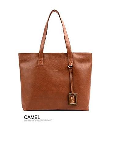 Fashion Women Handbag Ladies Messenger Leather Bag Shoulder Tote Bag Satchel (Camel)