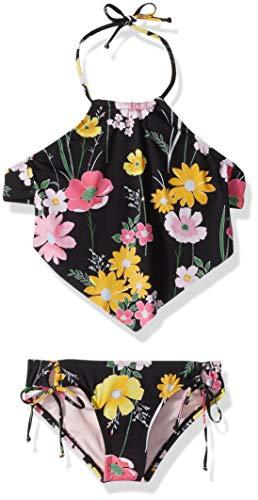 (Hobie Big Girls' Hi-Neck Halter Tankini and Side Tie Hipster Swimsuit Set, Black//Flower Fields, 10)