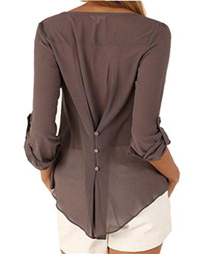 Beautyart Chiffon Blouse Shirt Deep V Neck Buttoned Back Loose Casual Women Top