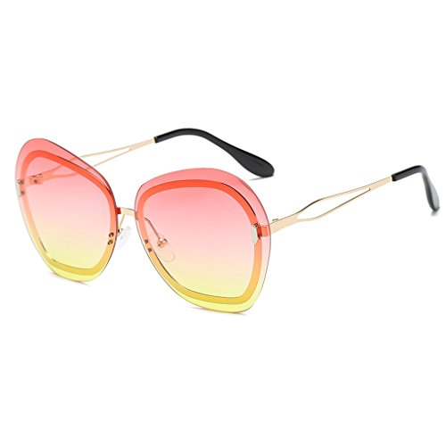 Lens Demo Frame Pink (Hukai Sunglasses Large Ocean Lens Fashion Gradient Glasses Shades Brand Designer UV400)