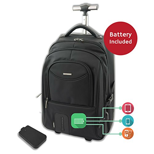 Rolling Laptop Backpack with Cell Phone, Tablet & Gadget Charging Solution, Dual USB Ports, LED Battery Status Display (includes 7000mAh Battery) by Got2Go.com