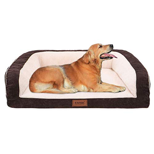 EMME Pet Bed Deluxe Sofa-Style Couch Removable Cover Ultra Plush Orthopedic Dog Beds Dogs & Cats (Coffee, Large)