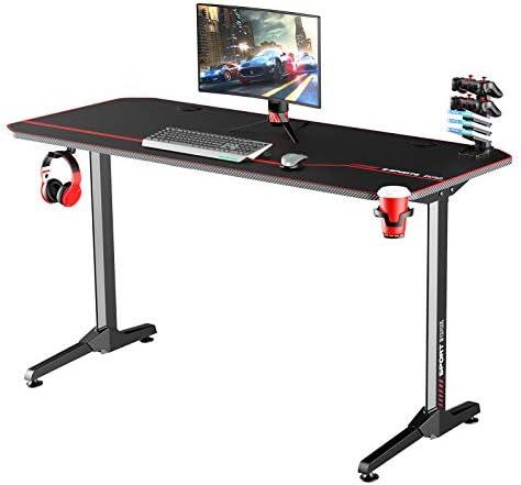 Soges 55 inches Large Gaming Desk Computer Desk Computer Gamer Desk Pro Table Ergonomic PC Desk NE-1460