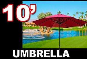 Nuevo Mercado de 10'patio al aire libre playa sol paraguas de aluminio w/manivela pantalla color rojo