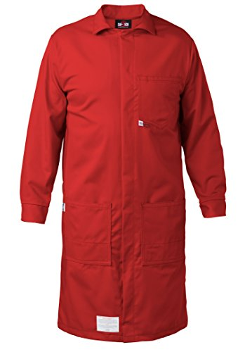 Nomex Lab Coats (RED - 3X - FR LAB COAT - 6oz. NOMEX III3 Flame Resistant Fabric - Lab or Classroom Ready - HRC 1 - APTV= 5.7 cal/m2 - MADE IN THE U.S.A.)