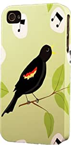 Singing Black Bird Pattern Dimensional Case Fits Apple iPhone 4 or iPhone 4s