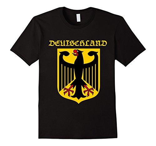 Deutschland Coat (Mens DEUTSCHLAND Coat Of Arms German T Shirt 2XL Black)
