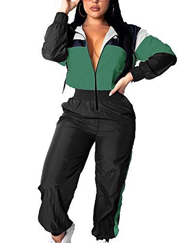 Women Colorblock 2 Piece Tracksuit Set Long Sleeve High Waist Pants Set Colour Sweatsuit