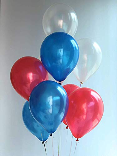 12 3.2 Helium Quality Pearl Latex Patriotic Balloons For Your 4th Of July Party, Memorial Day, Independence Day, Labor Day,Election Day And Other Party Decoration- Red White And Blue- 100 Pack.