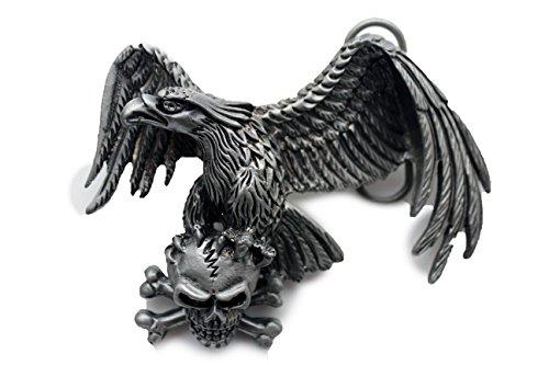 TFJ Men Belt Buckle Western Silver Metal American Eagle Skeleton Skull - Face Texas Square